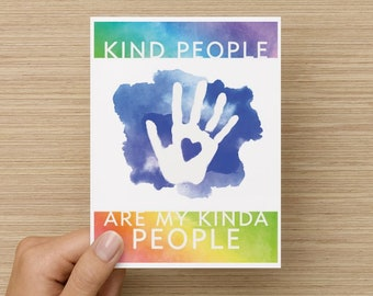 Kind People Are My Kinda People Folded Recycled Paper Greeting Card