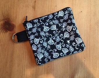 Flor Noir Fabric Keychain Face Mask Storage Zipper Pouch