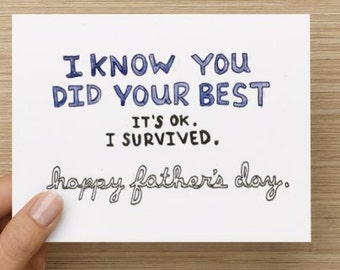Honest Father's Day Forgiveness Recycled Paper Folded Greeting Card