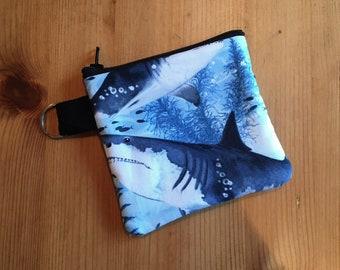 Shark Week Fabric Keychain Face Mask Storage Zipper Pouch