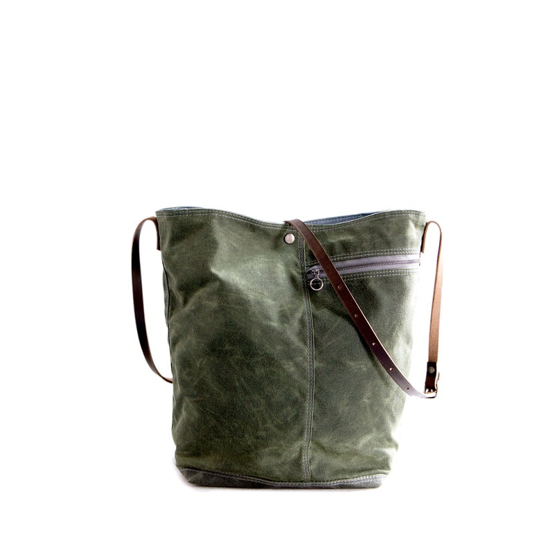 2 in Sage Green waxed canvas Tote no