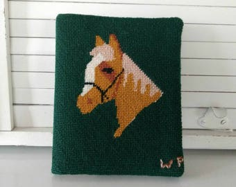 Cross Stitch Horse / Cross Stitched Horse Address Book / Horse Lover Gift / Unused Address Book / Horse Needlepoint / Chestnut Brown Horse