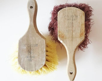 """Vintage Wooden Masonry Brushes, Paint Wallpaper Plaster, 8"""" Sun Canary, Made in USA, Rustic Farmhouse Decor, Wall Art Gallery"""