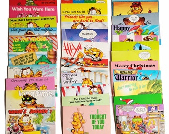 Vintage 1970s Garfield Post Cards, Jim Davis, unused Post Cards, Large Lot of 32, Argus Christmas, Travel,  Bright Colorful Paper