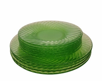 "Vintage Green Depression Glass, Plates Swirl Pattern, Anchor Hocking, 6"" and 8"", Granny Chic, Dinnerware Set, Cottagecore Kitchen"