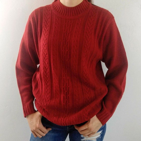 Vintage Red Cable Knit Sweater Pullover Boyfriend Oversized Etsy