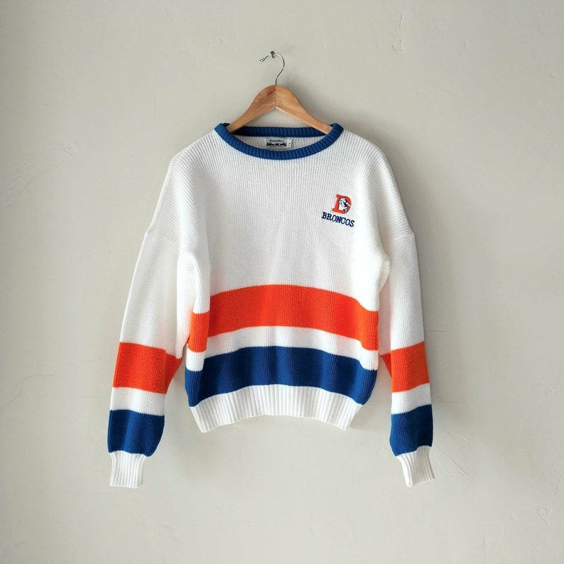 08759967 Vintage Denver Broncos Sweater, National Football League NFL, Orange Blue  White, Sports Active Wear, Brandon Made in USA, Size Small