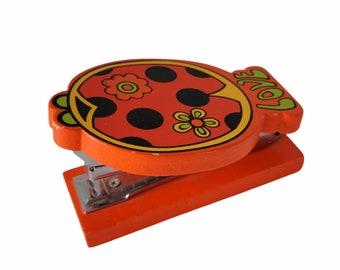 Vintage Ladybug Wood Stapler, Retro Mod, Love Flowers, Orange Black, Green Yellow, Holiday Fair, 1971 Japan, Teacher Co Worker Gift