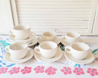 Vintage Buffalo China Cups Saucers, Restaurant Ware, Set of 7, Off White, Dinnerware Sets, Coffee Cups Saucers