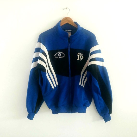 2731d95621a5a Vintage Adidas Jacket, Women's Soccer Jacket, Athletic Windbreaker, Sports  Track Suit Top, Heavy Polyester, Size Medium, Blue Black White