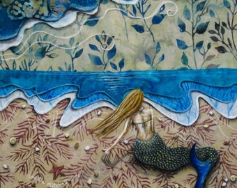 Mermaid art, gifts for her, beach decor, dreamer, aqua blue water, wild at heart, shabby chic, seashells, Original Fabric on Wood art box