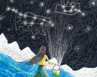 Astrology art, Ursa Major, the big dipper, constellations, Nursery decor, gifts for her, little dipper, Original Fabric on Wood art box
