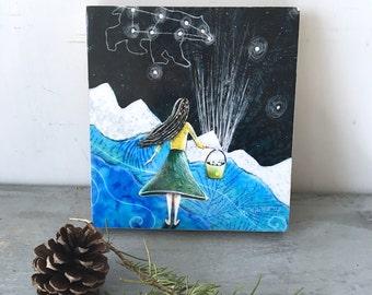 Little girl nursery art, constellation art, home decor, big dipper, gathering stars, baby shower gift, Mounted Print, on wood panel