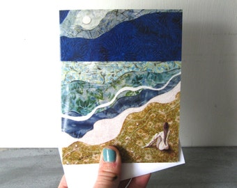 She felt small but Alive,  illustrated blank card, ocean sea waves, meditate, glossy finish