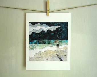 Lost at Sea, ocean beach summer mint, archival reproduction print 8.5 x 11