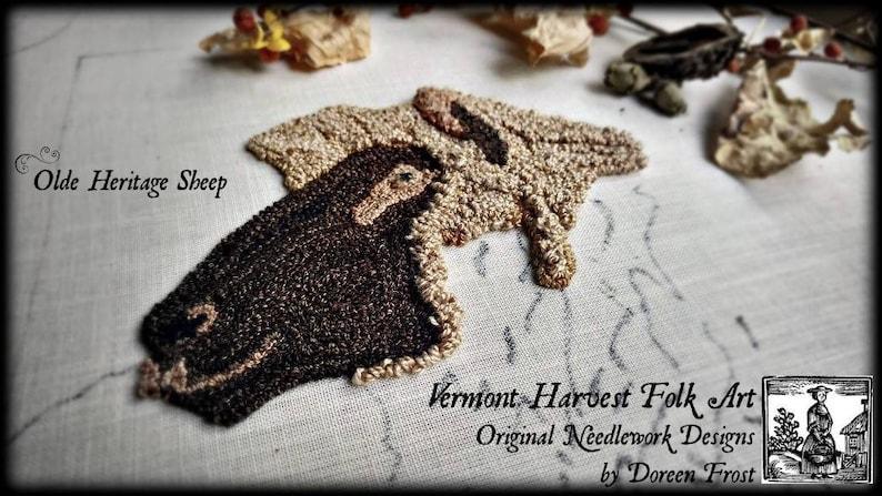 Olde Heritage Sheep ~ Rug Hooking Pattern On Primitive Linen by Doreen Frost
