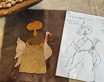The Pumpkin Ladye & Her Deare Companion Wool Applique Template