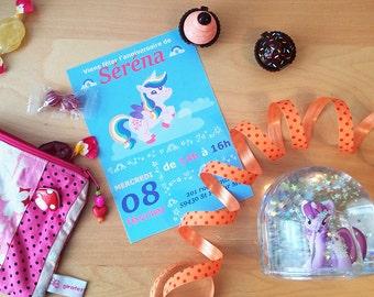 PDF Invitation d'anniversaire licorne - à imprimer chez vous- personnalisable - anniversaire fille