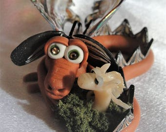 Dragon and his buddy - Elemental Dragons OOAK