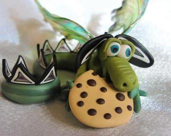 Cookie Monster Dragon - Elemental Dragons OOAK
