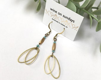 Brass Statement Earrings / Dangle and Drop Earrings / Brass Oval Jewellery with Turquoise Seed Beads