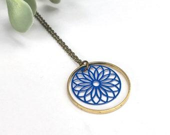 Blue Filagree Necklace / Pale Pink Circle Brass Necklace / Long Geometric Mandala Statement Jewellery