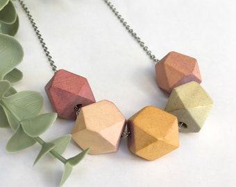 Wooden Hex Necklace / Light Ombré Jewellery / Geometric Hexagonal Wood Jewelry / Long Handmade Statement Necklace