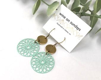 Mint Mandala Earrings / Brass Filagree Circle Jewellery / Green Geometric Dangle Jewelry