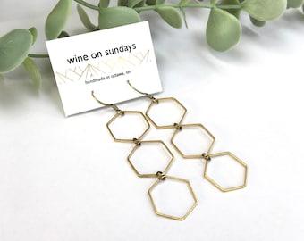 Triple Hex Earrings / Light & Simple Dangling Jewellery / Brass Geometric Hexagon Jewelry