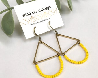 Beaded Yellow Earrings with Brass Triangle / Bright Eclectic Boho Seed Bead Earrings / Sunshine Bold Jewelry