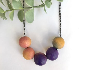 Wooden Ombré Necklace / Jewel Tone Jewellery / Multi Bead Statement Jewelry / Long Bold Everyday Necklace