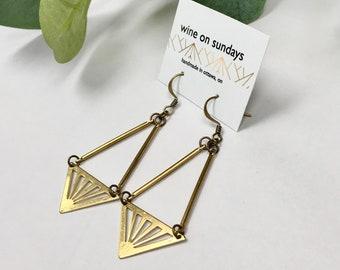 Brass Triangle Earrings / Geometric Statement Jewellery / Triangle Starburst Jewelry