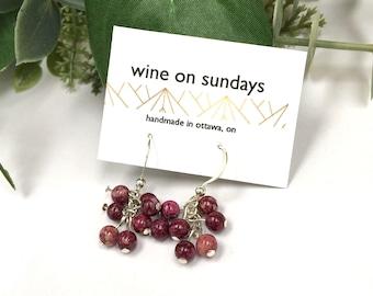 Raspberry Cluster Earrings / Wine Fossil Bead Jewellery / Simple Garnet Beaded Earrings