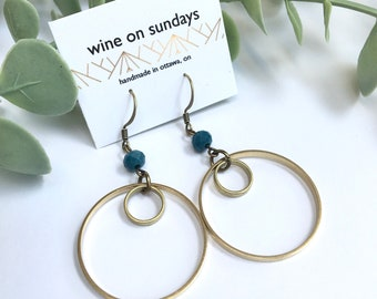 Double Hoop Earrings / Dangle Earrings / Boho Hoops / Statement Jewelry