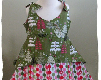 Sample Sale-NEW Girls Boutique-Christmas Holiday Euro Dress-CUSTOM-2-3T-Pink & Green Trees