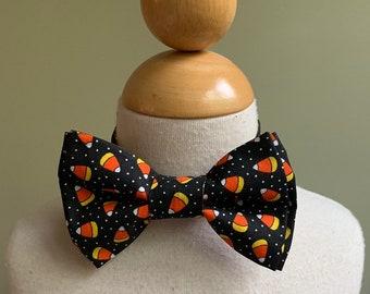My Baby Boutique-Designer Boys Bow Tie-3-7-Halloween Candy Corn-Plastic Loop Closure