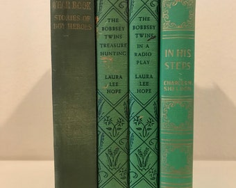 Green Set of Hardback Books, Stackable Books, Green Books, Books by Color, Decorative Books, Vintage Books