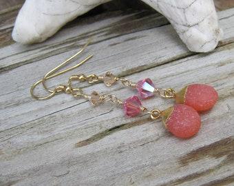 Cool Summer earrings Watermelon Gumdrops Chalcedony & crystal earrings Pink- Lisa New Design