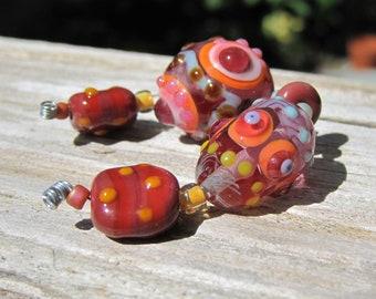 Autumn Harvest lampwork set -handmade glass beads-- Art Glass beads~ Lisa New Design-SRA lampwork
