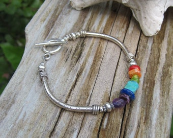 Rainbow bracelet Hill Tribe silver Turquoise spiny oyster jewelry Lisa New Design
