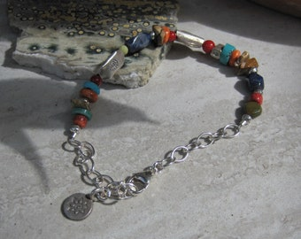 Multicolor Stone & Silver braclet~ Lisa New Design~ Earthy Bohemian jewelry