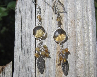 Whiskey Quartz Thai silver leaf earrings Lisa New Design Fall Autumn jewelry