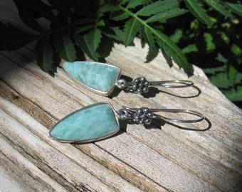 Amazonite Point pendant Sterling silver earrings ~Lisa New Design~Gemstone earrings- Fall Autumn jewelry