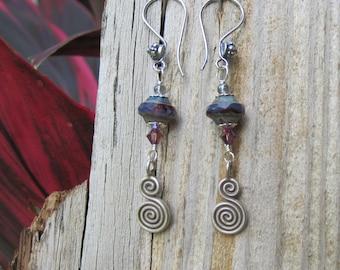 Bohemian Purple Earrings Hill Tribe silver spiral earrings -Lisa New Design- Artisan jewelry