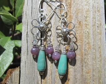 Flower Power Gemstone & silver earrings Lisa New Design Bohemian Earthy jewelry