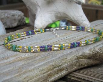 Slender 2 strand anklet bracelet Colorful Beach jewelry- Lisa New Design- Artisan lampwork beads & Jewelry