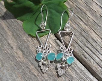 Triangle leafy fringe earrings Gemstone Hill Tribe- Lisa New Design- Artisan jewelry
