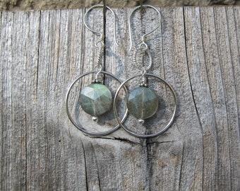 Labradorite hoop earrings Spinners Sterling Silver ~Lisa New Design~ Eclectic Artisan Jewelry