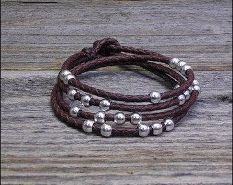 Leather Wrap Bracelet with Silver Beads -- Detangle
