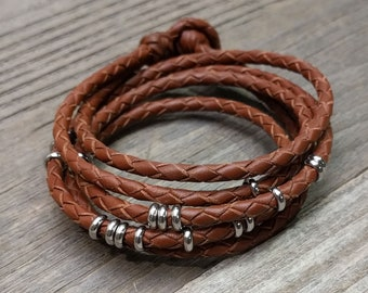 Leather Wrap Bracelet with Stainless Steel Beads -- Detangle